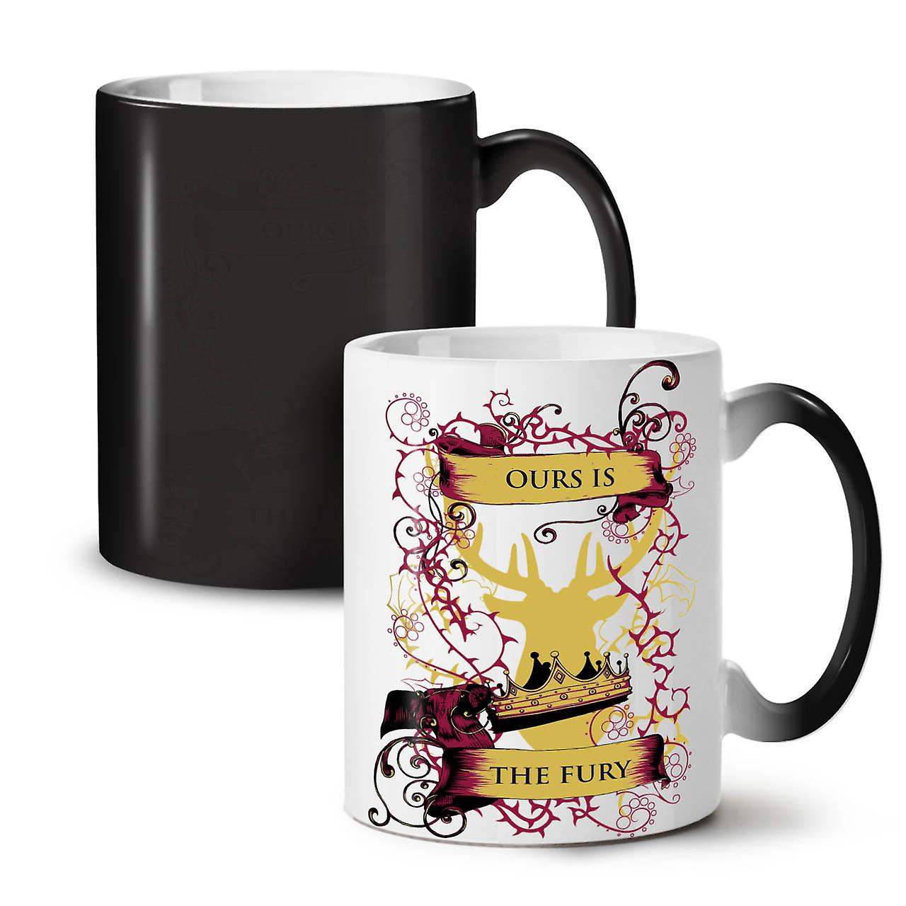 Fury Deer King Animal NEW Black Colour Changing Tea Coffee Ceramic Mug 11 oz | Wellcoda