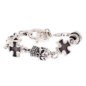 925 Sterling Silber Iced Out Armband - GERMAN SKULL CROSS