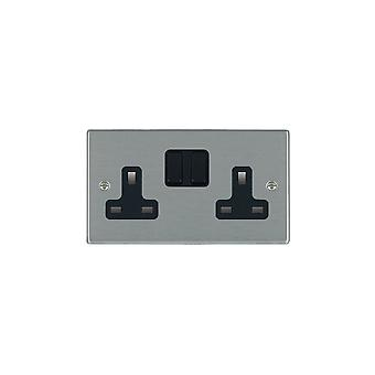 Hamilton Litestat Hartland Satin Stainless 2g 13A DP Switched Socket BL/BL