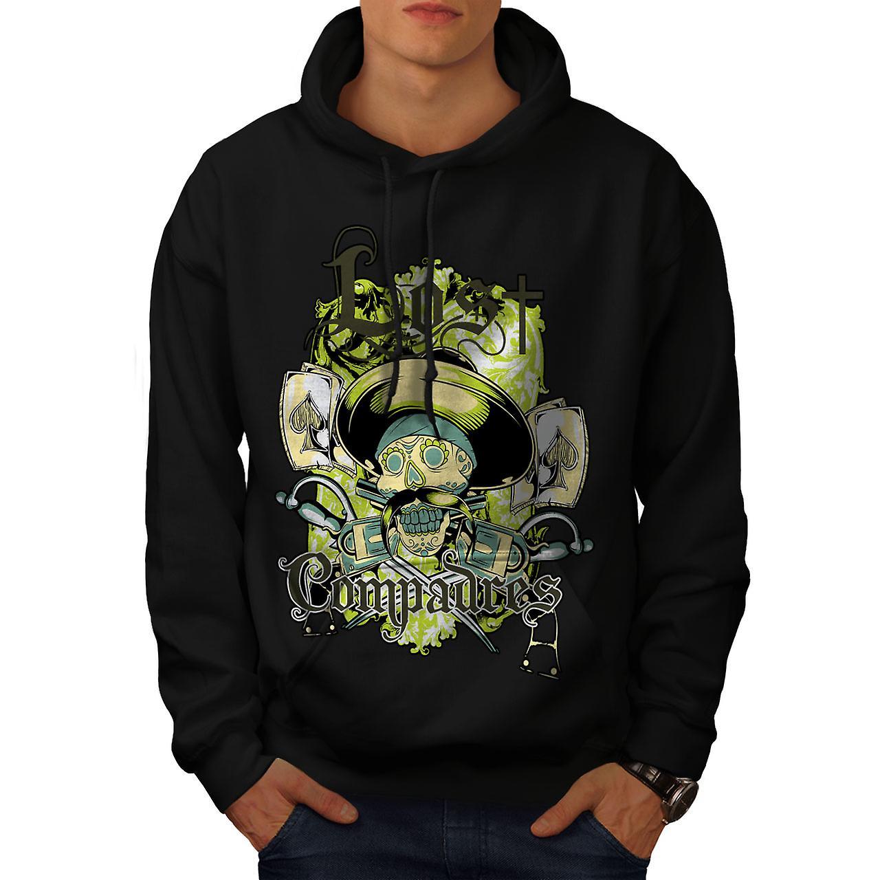 Lost Compadres Cool Skull Men Black Hoodie | Wellcoda
