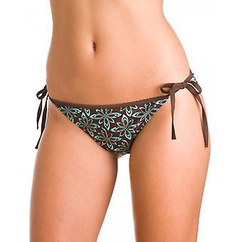 Camille Womens Damen braun und Aqua afrikanischen Floral Print Bademode Tie Seite Bikini Bottoms