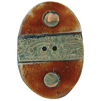 Handmade Bone Button Oval with Gold Metal Trim 1 1 2