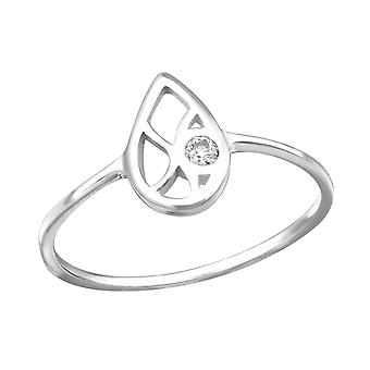 Teardrop - 925 Sterling Silver Cubic Zirconia Rings