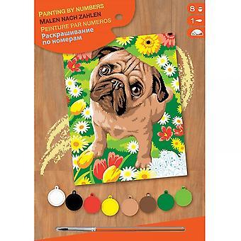 Sequin Art Mops Hund & Blumen Junior Malen nach Zahl