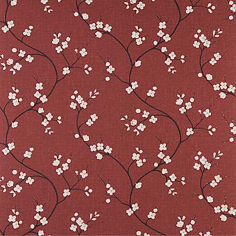Graham & Brown Flat Floral Wallpaper Roll - Solace Crimson Red - 58208