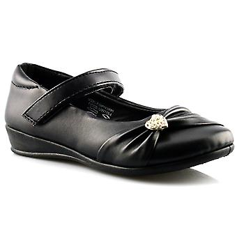 Infant Girls New Touch Fastening Back To School Bar Formal Black Shoes