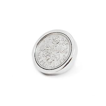 Genuine Polished 1953 Sixpence in Lapel Pin | 1953 anniversary, 65th birthday