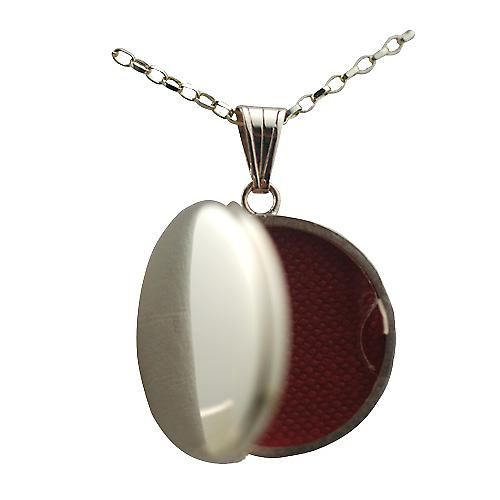 9ct Gold 23mm plain flat round Locket with a belcher chain