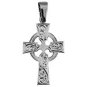 Silver 35x24mm hand engraved Celtic Cross with bail