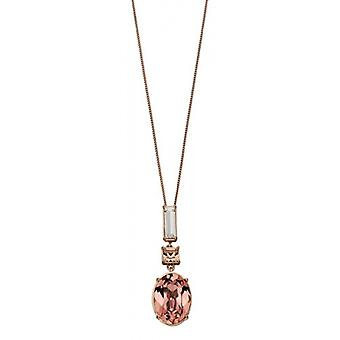Elements Silver Swarovski Crystal Light Silk Drop Pendant - Rose Gold/Clear/Peach