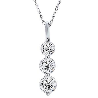2ct enorme drie stenen echte diamant wit goud hanger