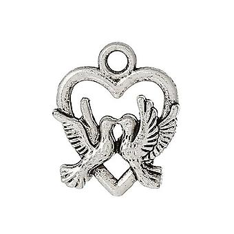 Packet 10 x Antique Silver Tibetan 19mm Heart Charm/Pendant ZX10340