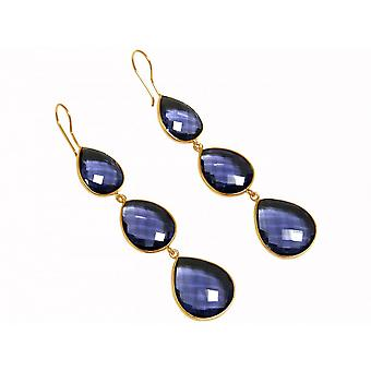 Earrings - 925 Silver - gold plated - Iolite - blue - dripping - 9 cm