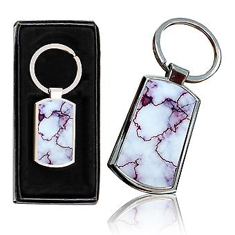 i-Tronixs - Premium Marble Design Chrome Metal Keyring with Free Gift Box (3-Pack) - 0041
