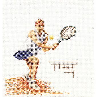 Tennis On Linen Counted Cross Stitch Kit-6.25