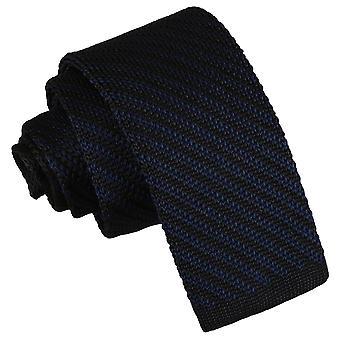 Zwart en Navy diagonale streep gebreide mager gelijkspel