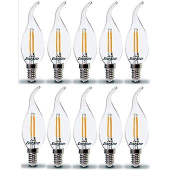 10 X Energizer LED Bent Tip Candle SES E14 2.4W = 25W 250lm 2700 K Warm White Chandelier Bulb  [Energy Class A+]