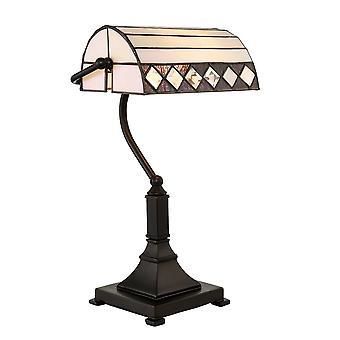 Interiors 1900 Fargo Single Light Tiffany Bankers Lamp With Art