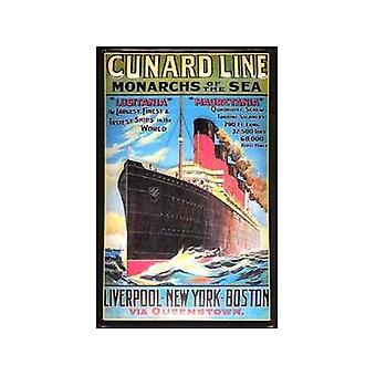 Cunard Monarchs Of The Sea Embossed Steel Wall Sign 300Mm X 200Mm
