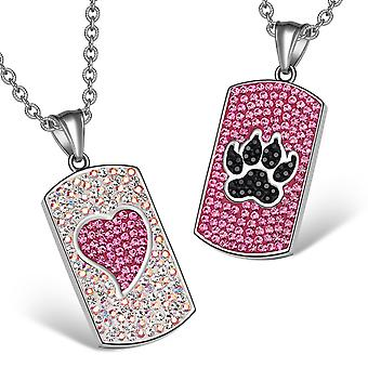 Heart Wolf Paw Austrian Crystal Love Couples Best Friends Tag Rainbow White Pink Black Necklaces