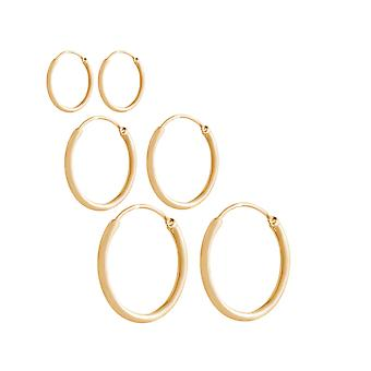 GEMSHINE 925 Silver gold-plated hoop earrings endless hoop earrings in a classic design in sizes 12 mm - 40 mm. made in Madrid / Spain