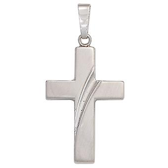 Cross pendant silver pendant cross 925 sterling silver rhodium plated partly frosted