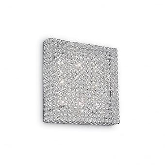 Ideal Lux Admiral Modern Square Crystal 8 Light Wall Lamp