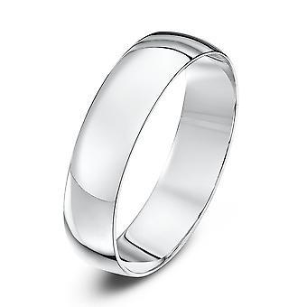 Star Wedding Rings 9ct White Gold Light D Shape 5mm Wedding Ring