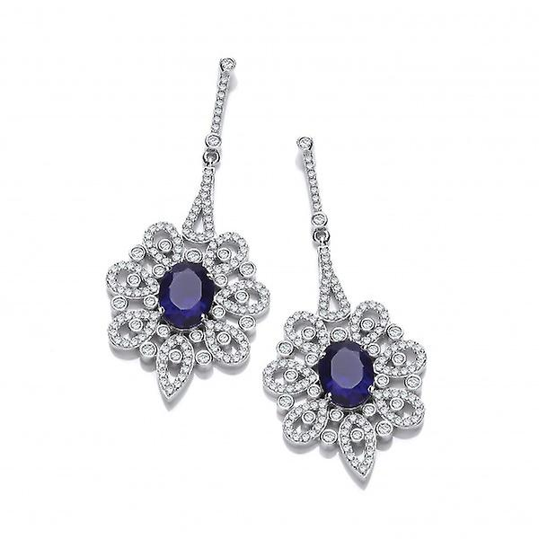Cavendish French argent and Sapphire CZ Belle Epoque Earrings