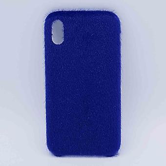 För IPhone XR fall-mjuk fluffig-blå