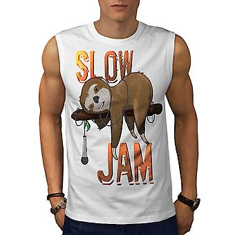 Animal Music Jam Men WhiteSleeveless T-shirt | Wellcoda