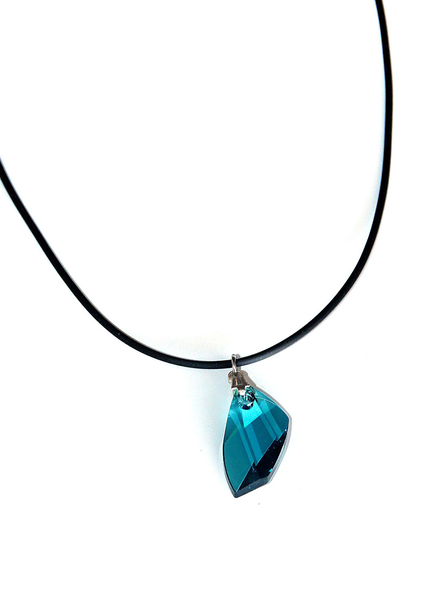 Waooh - Jewelry - Swarovski / Pendant blue wing and rubber cord