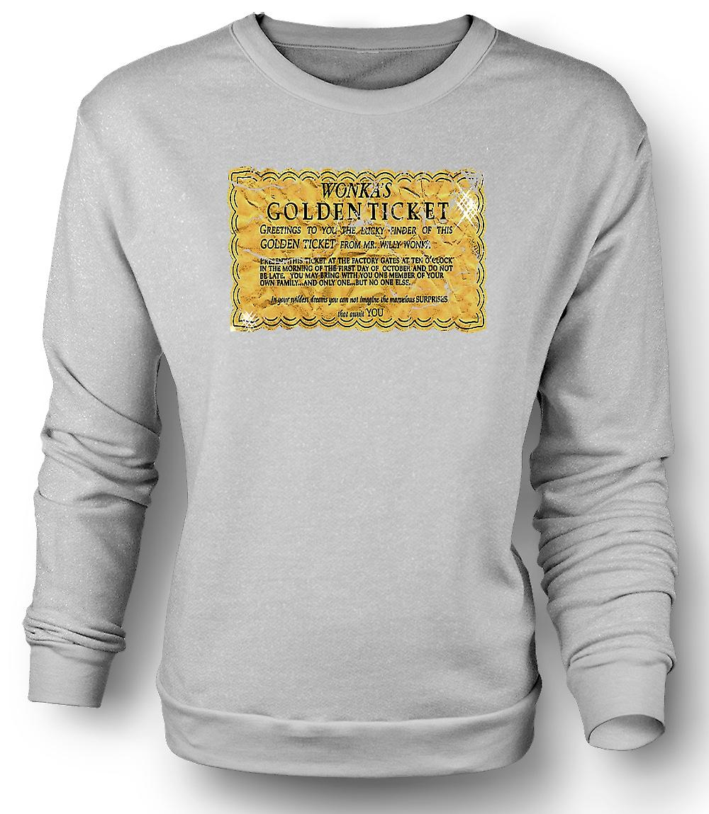Sudadera para hombre Willy Wonka Golden Ticket - gracioso