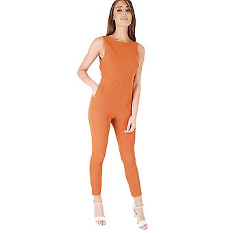 Goldie London Burnt Orange Jumpsuit Featuring Low Back