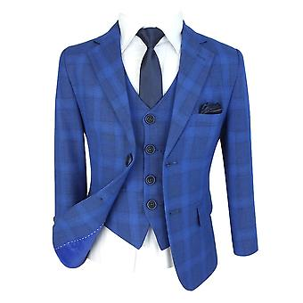 Flamingo Boys Blue Check Print 3 Piece Slim Fit Suit