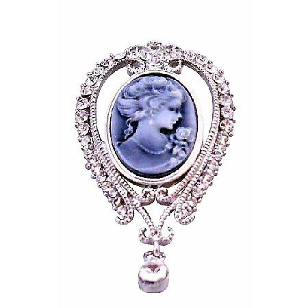 Victorian Lady Holding Flower Cameo Lady Brooch Pendant