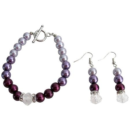 Modern Desing Wedding Jewelry In Plum Color Bracelet Earrings Set
