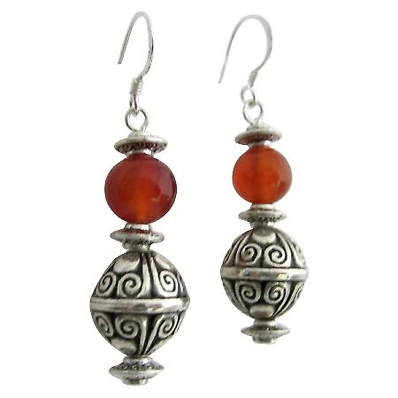 Fancy Girls Gift Carnelian Earrings with Bali Silver Bead Earrings