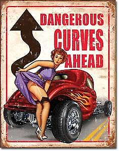 Dangerous Curves Ahead metal sign