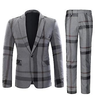 Allthemen Men's Fashion Stripe Spliced Cotton&Wool Casual 2-Piece Suit