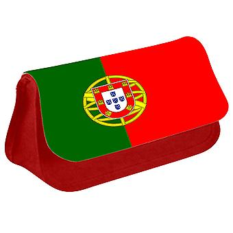 Portugal Flag Printed Design Pencil Case for Stationary/Cosmetic - 0141 (Red) by i-Tronixs