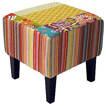 Patchwork - Shabby Chic placu PUFA wyściełany stołek drewna nogi - wielokolorowe