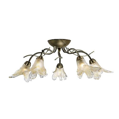 Searchlight 5495-5AB Lily 5 Light Antique Brass Semi Flush Fitting Amber Petal Glass