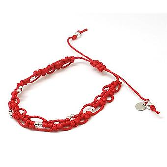TOC Red Waxed Cotton Bracelet With Silver Beads