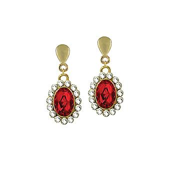 Eternal Collection Majesty Light Siam Red Crystal Gold Tone Drop Clip On Earrings