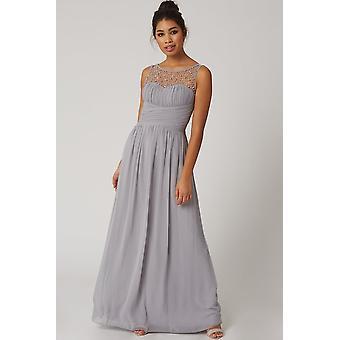 Mini Grey amante embelezado vestido Maxi
