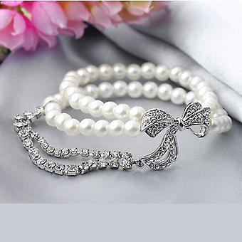 18K Gold Plated Simulated Pearl Bowknot Charm Bracelet, 5.82 cm diameter, white