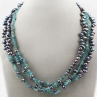 Multi Strands Black And Blue Fresh Water Cultured Pearl Necklace