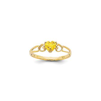 14k Yellow Gold Polished Citrine Ring - Size 7