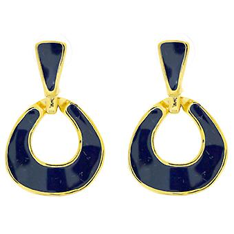 Kenneth Jay Lane Blue Enamel Round Door Knocker Earrings